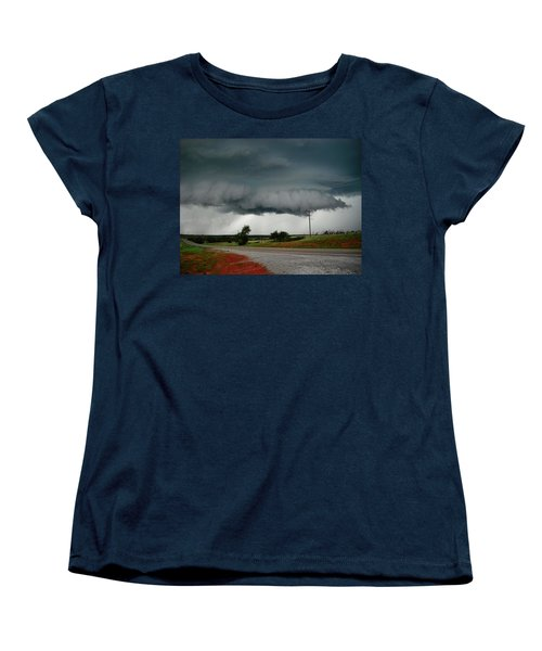 Women's T-Shirt (Standard Cut) featuring the photograph Oklahoma Wall Cloud by Ed Sweeney