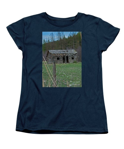 Women's T-Shirt (Standard Cut) featuring the photograph Old Abandoned Homestead Cabin Art Prints by Valerie Garner