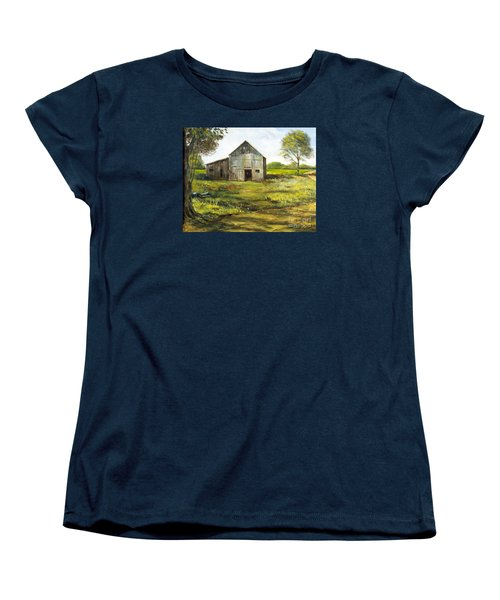 Women's T-Shirt (Standard Cut) featuring the painting Old Barn by Lee Piper