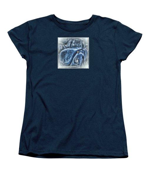 Old Blue Bug Women's T-Shirt (Standard Cut) by Jean OKeeffe Macro Abundance Art