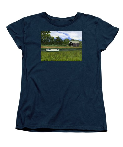 Women's T-Shirt (Standard Cut) featuring the painting Old Erie by Lynne Reichhart