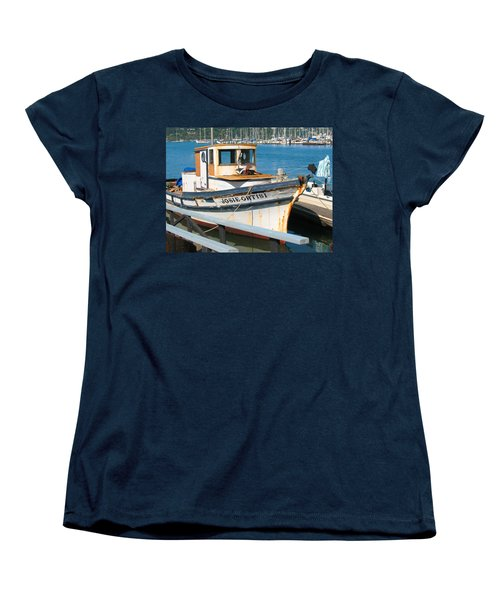 Women's T-Shirt (Standard Cut) featuring the photograph Old Fishing Boat In Sausalito by Connie Fox