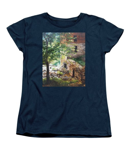Women's T-Shirt (Standard Cut) featuring the painting Old Mill Stream I by Lori Brackett