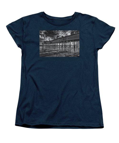 Old Orchard Beach Pier Bw Women's T-Shirt (Standard Cut) by Susan Candelario