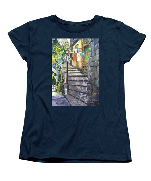 Old Village Stairs - In Tuscany Italy Women's T-Shirt (Standard Cut) by Carol Wisniewski
