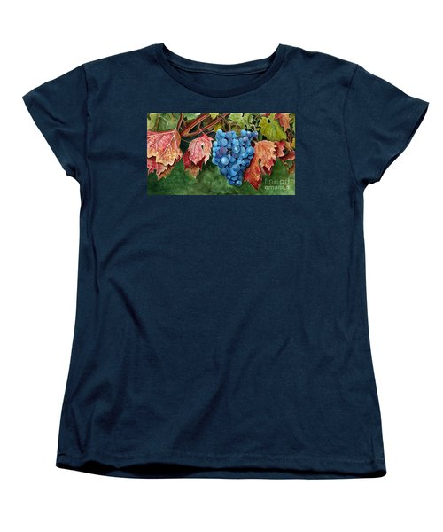 Women's T-Shirt (Standard Cut) featuring the painting Old Vine Zinfandel by Debbie Hart