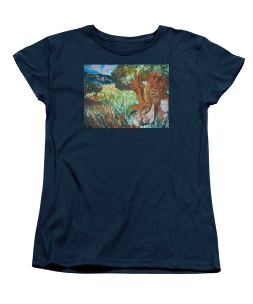 Women's T-Shirt (Standard Cut) featuring the painting Olive Trees by Teresa White
