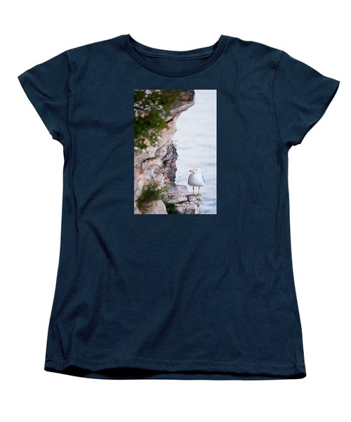 On The Cliffs Of Rocca Di Manerba Women's T-Shirt (Standard Cut) by Simona Ghidini