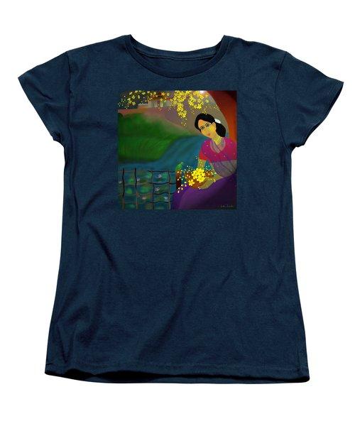 Women's T-Shirt (Standard Cut) featuring the digital art On The Eve Of Golden Shower Festival by Latha Gokuldas Panicker