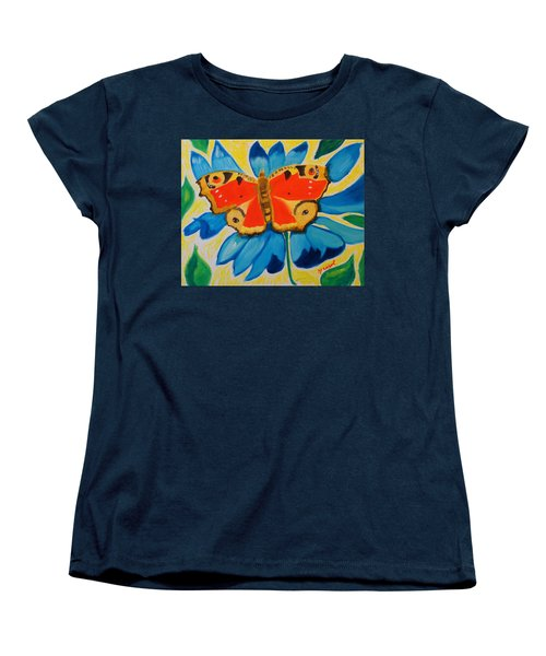 Women's T-Shirt (Standard Cut) featuring the painting On Top Of My World by Meryl Goudey