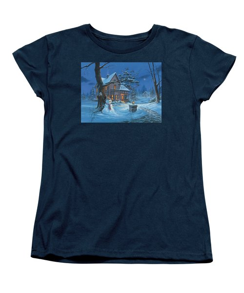Women's T-Shirt (Standard Cut) featuring the painting Once Upon A Winter's Night by Michael Humphries