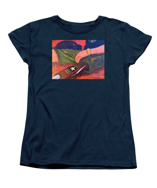 Women's T-Shirt (Standard Cut) featuring the painting One Team Two Heroes - 2 by Donald J Ryker III