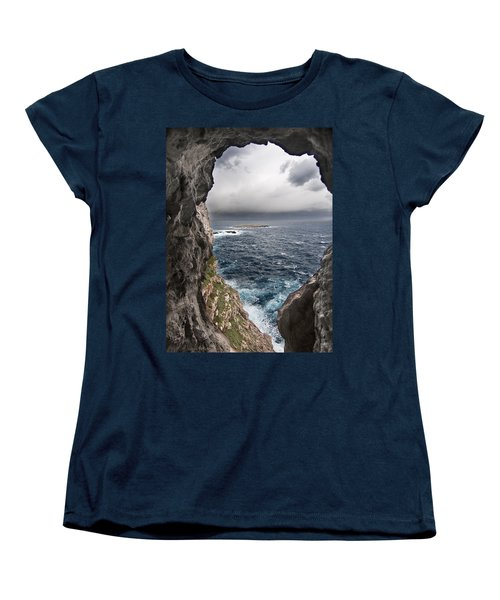 A Natural Window In Minorca North Coast Discover Us An Impressive View Of Sea And Sky - Open Window Women's T-Shirt (Standard Cut) by Pedro Cardona