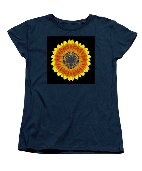 Orange And Yellow Sunflower Flower Mandala Women's T-Shirt (Standard Cut) by David J Bookbinder