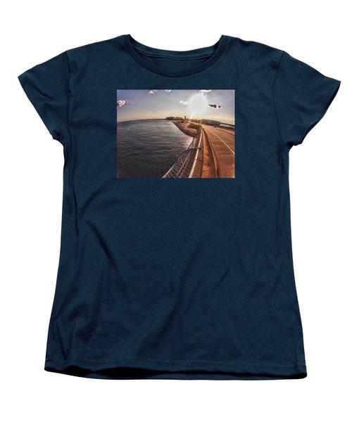 Women's T-Shirt (Standard Cut) featuring the digital art Orange Beach From Perdido Bridge by Michael Thomas