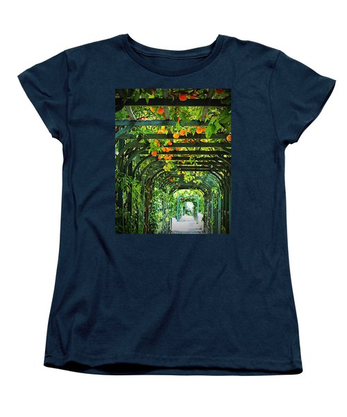 Women's T-Shirt (Standard Cut) featuring the photograph Oranges And Lemons On A Green Trellis by Brooke T Ryan