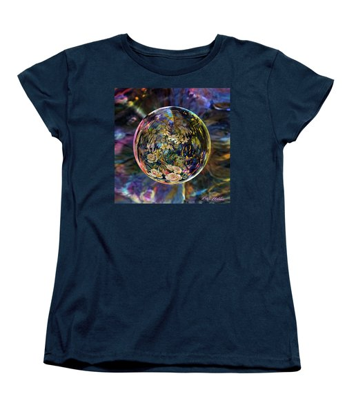 Women's T-Shirt (Standard Cut) featuring the digital art Orb Of Roses Past by Robin Moline