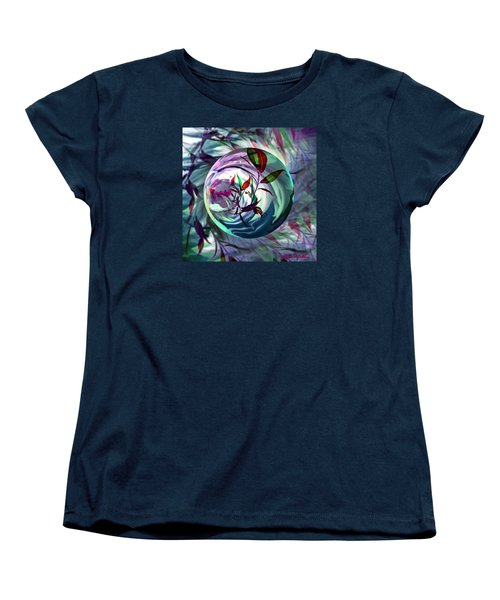 Women's T-Shirt (Standard Cut) featuring the digital art Orbiting Cranberry Dreams by Robin Moline