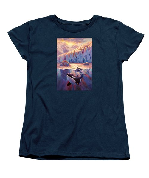 Orca Sunrise At The Glacier Women's T-Shirt (Standard Cut) by Karen Whitworth