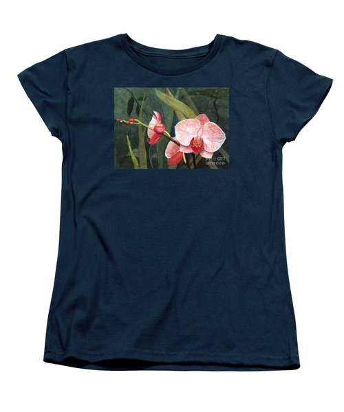 Women's T-Shirt (Standard Cut) featuring the painting Orchid Trio 2 by Barbara Jewell