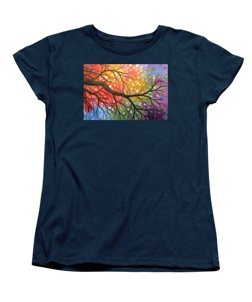 Women's T-Shirt (Standard Cut) featuring the painting Original Abstract Painting Landscape Print ... Bursting Sky by Amy Giacomelli