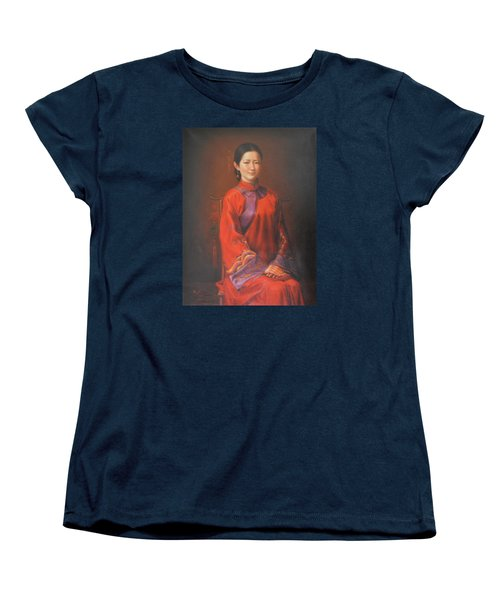 Original Classic Portrait Oil Painting Woman Art - Beautiful Chinese Bride Girl Women's T-Shirt (Standard Cut) by Hongtao     Huang