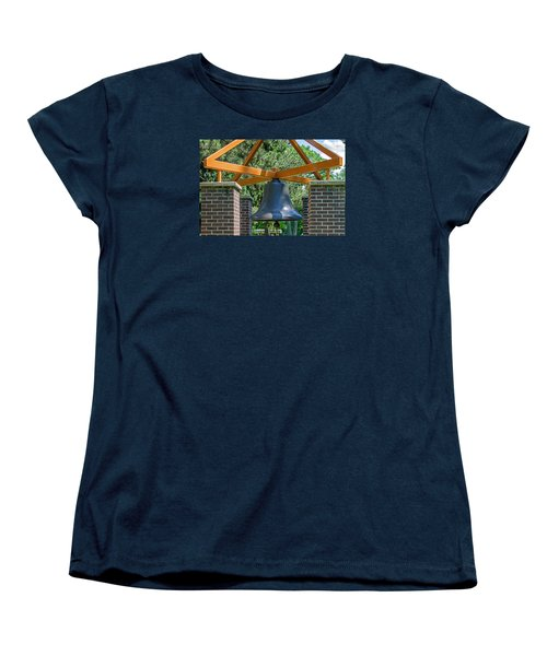 Women's T-Shirt (Standard Cut) featuring the photograph Original Fire Bell From The Superior Fire Dept In Wisconsin  1892  by Susan  McMenamin