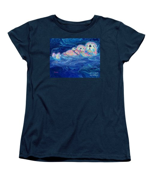 Women's T-Shirt (Standard Cut) featuring the mixed media Otter Family by Teresa Ascone