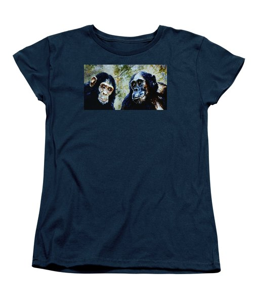 Women's T-Shirt (Standard Cut) featuring the painting Our Closest Relatives by Hartmut Jager