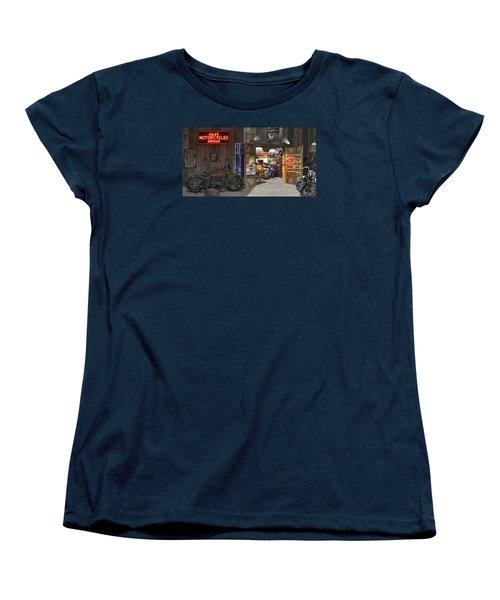 Outside The Motorcycle Shop Women's T-Shirt (Standard Cut) by Mike McGlothlen