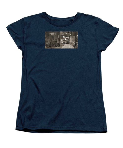 Outside The Old Motorcycle Shop - Spia Women's T-Shirt (Standard Cut) by Mike McGlothlen