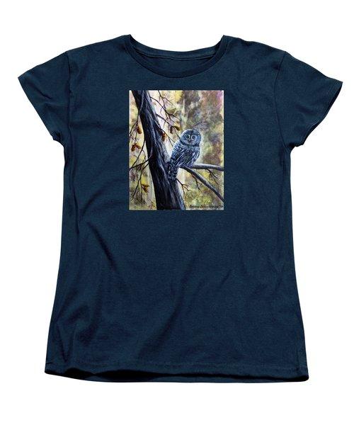 Women's T-Shirt (Standard Cut) featuring the painting Owl by Bozena Zajaczkowska