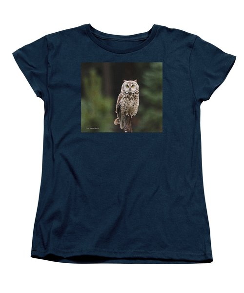 Owl In The Forest Visits Women's T-Shirt (Standard Cut) by Tom Janca