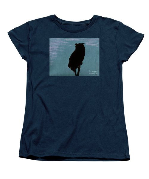 Women's T-Shirt (Standard Cut) featuring the drawing Owl Silhouette by D Hackett