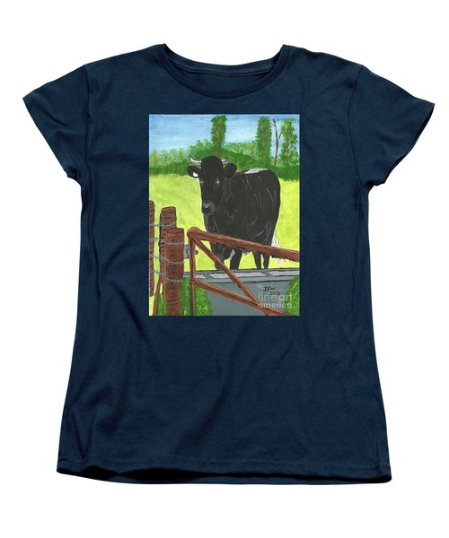 Women's T-Shirt (Standard Cut) featuring the painting Oxleaze Bull by John Williams