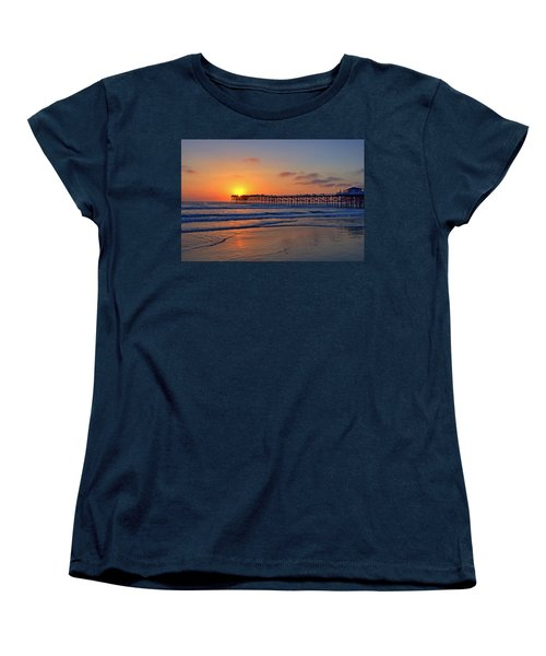 Pacific Beach Pier Sunset Women's T-Shirt (Standard Cut) by Peter Tellone