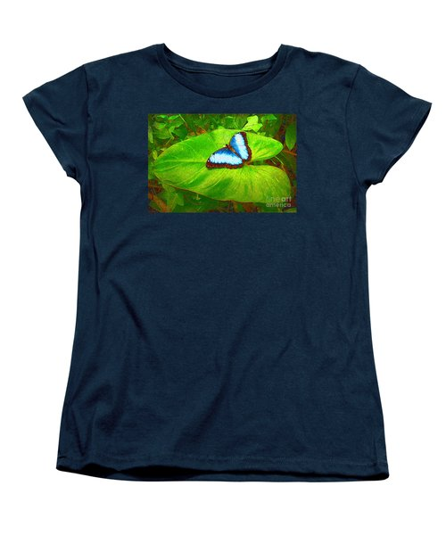 Women's T-Shirt (Standard Cut) featuring the photograph Painted Blue Morpho by Teresa Zieba