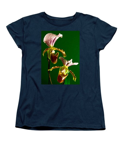 Pair Of Lady Slipper Orchids Women's T-Shirt (Standard Cut) by Elf Evans