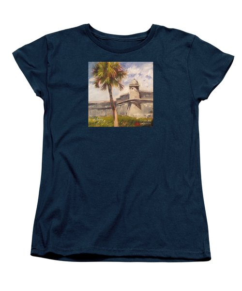 Palm At St. Augustine Castillo Fort Women's T-Shirt (Standard Cut) by Mary Hubley
