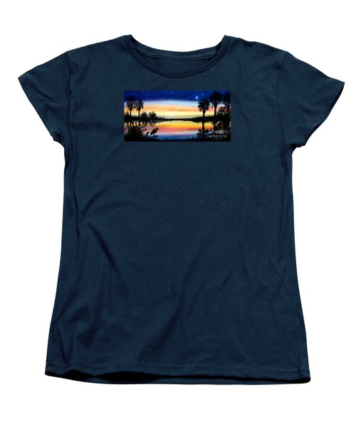 Palmetto Tree Moon And Stars Low Country Sunset IIi Women's T-Shirt (Standard Cut) by Patricia L Davidson