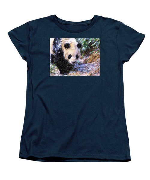 Women's T-Shirt (Standard Cut) featuring the painting Panda Bear Walking In Forest by Lanjee Chee