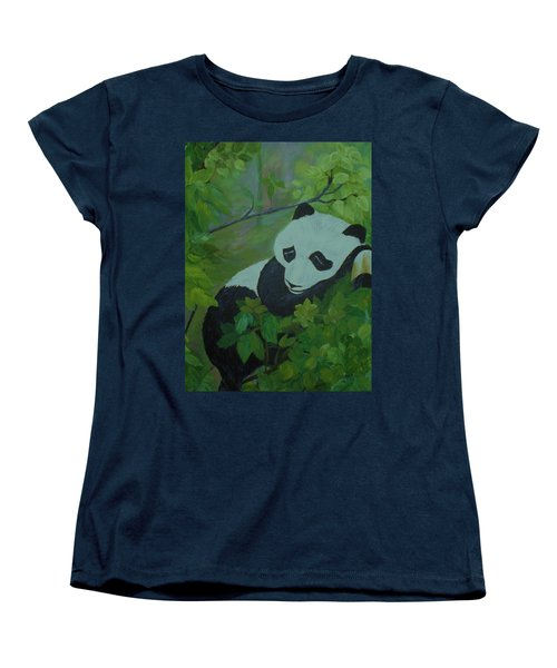 Women's T-Shirt (Standard Cut) featuring the painting Panda by Christy Saunders Church