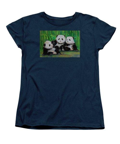 Panda Cubs Women's T-Shirt (Standard Cut) by Jean Cormier