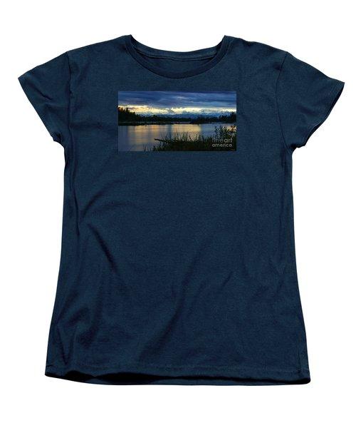 Pano Denali Midnight Sunset Women's T-Shirt (Standard Cut) by Jennifer White
