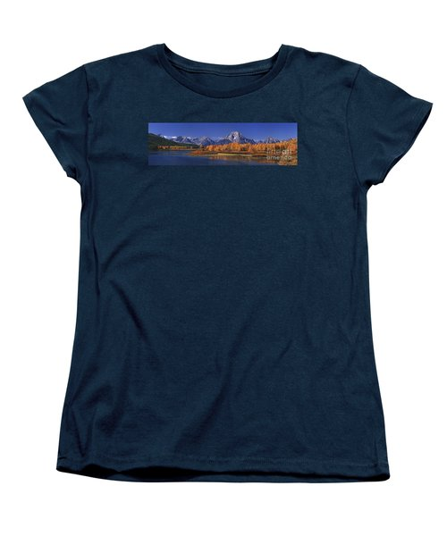Women's T-Shirt (Standard Cut) featuring the photograph Panorama Fall Morning Oxbow Bend Grand Tetons National Park Wyoming by Dave Welling