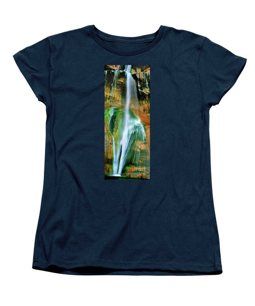 Women's T-Shirt (Standard Cut) featuring the photograph Panorama Lower Calf Creek Falls Escalante Nm Utah by Dave Welling