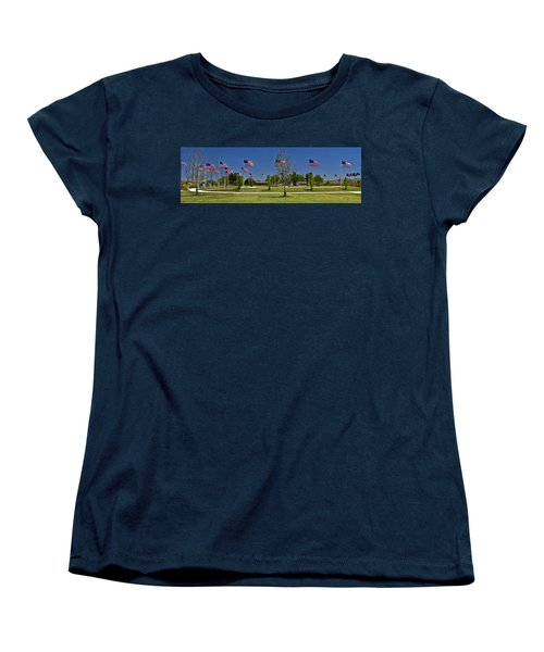Women's T-Shirt (Standard Cut) featuring the photograph Panorama Of Flags - Veterans Memorial Park by Allen Sheffield