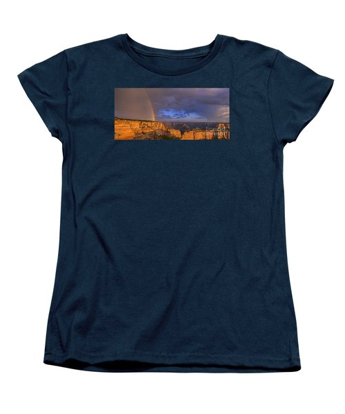 Women's T-Shirt (Standard Cut) featuring the photograph Panorama Rainbow Over Cape Royal North Rim Grand Canyon National Park by Dave Welling