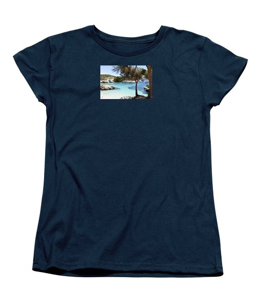 Paradise In Minorca Is Called Cala Mitjana Beach Where Sand Is Almost White And Sea Is A Deep Blue  Women's T-Shirt (Standard Cut)