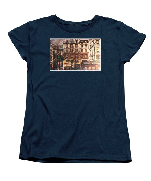 Women's T-Shirt (Standard Cut) featuring the painting Paris by Walter Casaravilla
